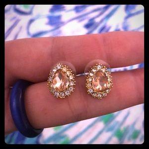 Francesca pink champagne jeweled earrings